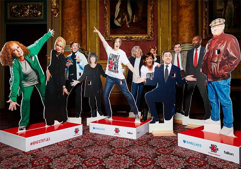 Miranda Hart and Comic Relief's Red Nose Day Statues