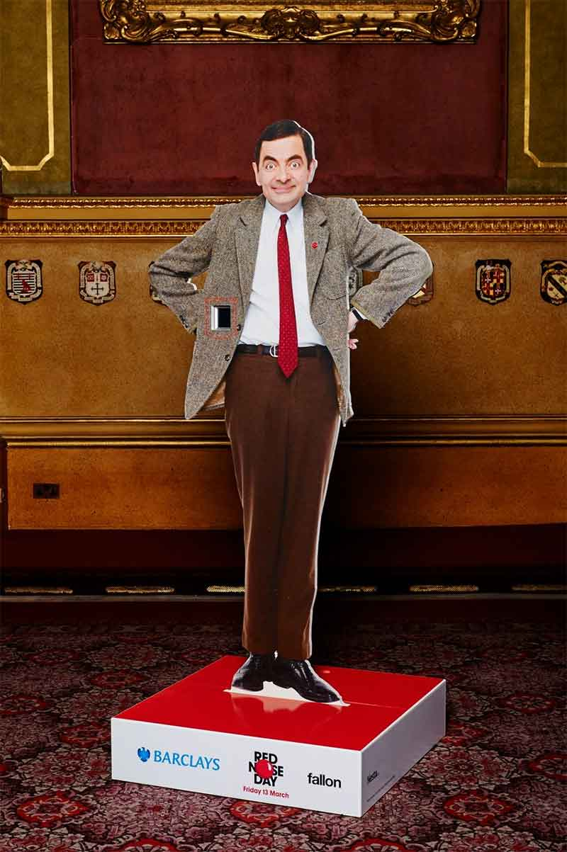 Rowan Atkinson Red Nose Day 2015 statue