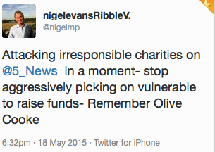 Nigel Evans 'Olive Cooke' tweet