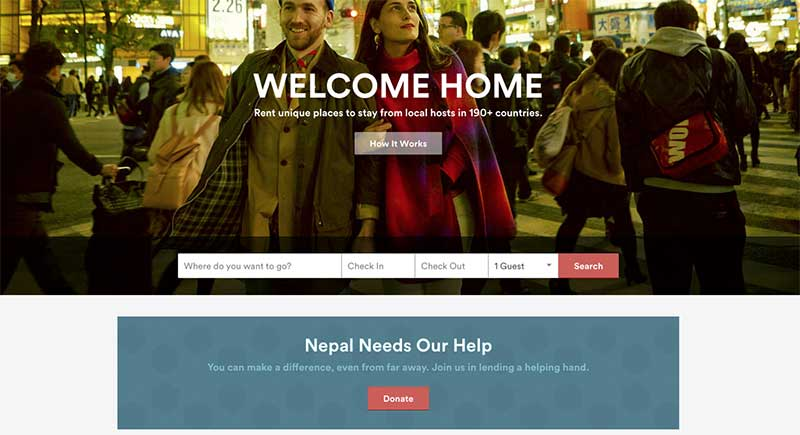 Airbnb's front page appeal for three NGOs helping in the wake of the Nepal earthquake