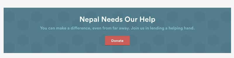 Airbnb front page appeal for Nepal donations
