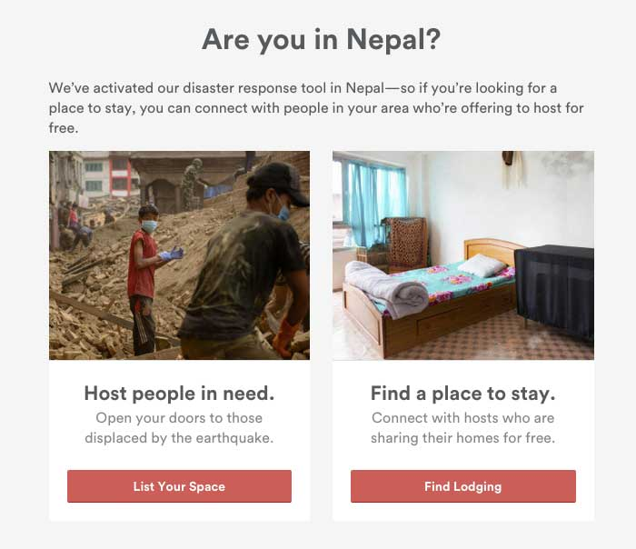 Airbnb Nepal disaster response