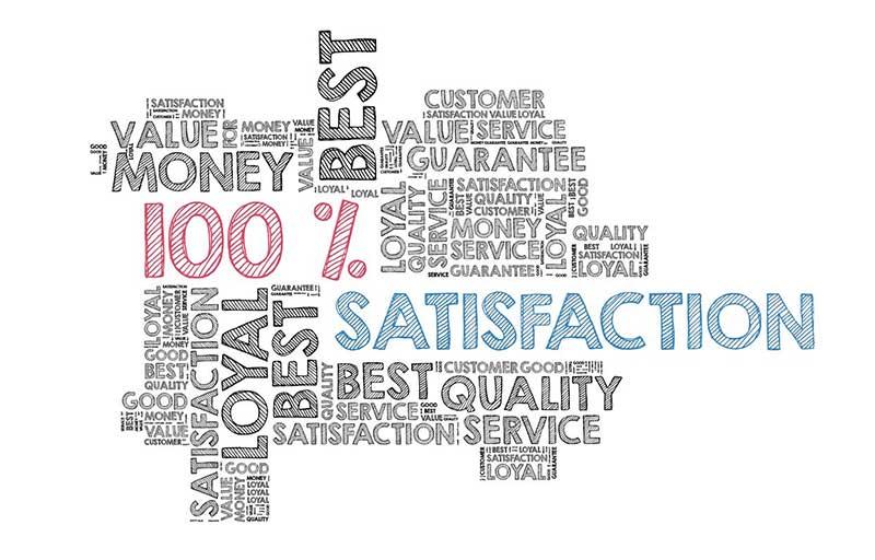100% satisfaction in a wordcloud