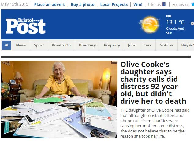 Frtont page of Bristol Post's website 15 May 2015