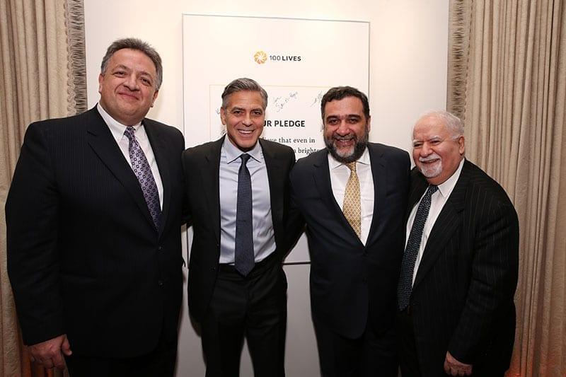 (l-r) Noubar Afeyan, George Clooney, Ruben Vardanyan and Vartan Gregorian
