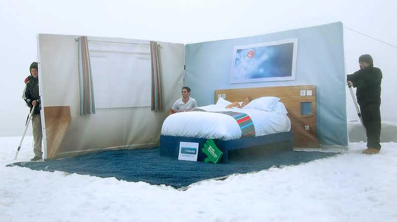 Travelodge staff create a room on top of Ben Nevis for Macmillan Cancer Support