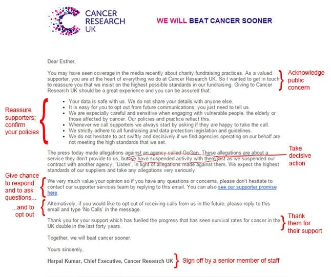 Email to supporters from Cancer Research UK following Daily Mail accusations