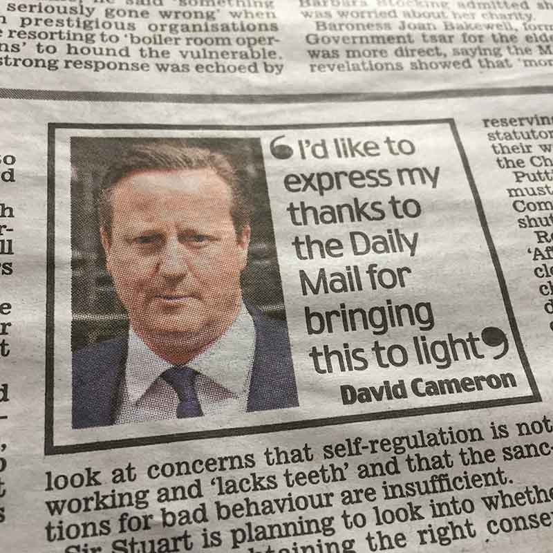David Cameron thanks The Daily Mail