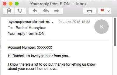E-ON customer services email