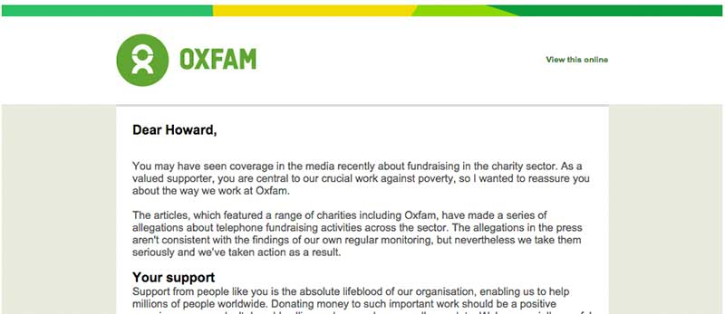 Oxfam's response to donors