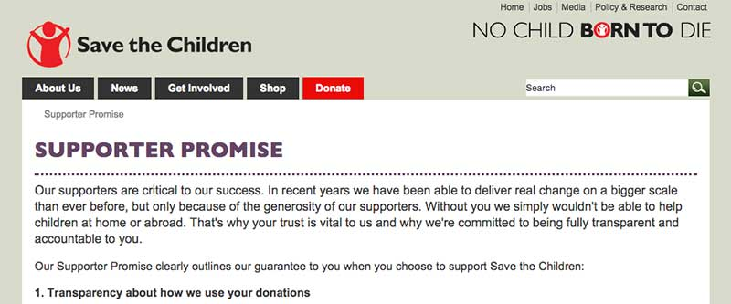 Save the Children Supporter Promise