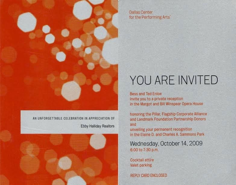 Invitation to donor acknowledgement event at Dallas Center for Performing Arts