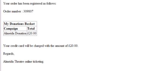 Almeida theatre receipt
