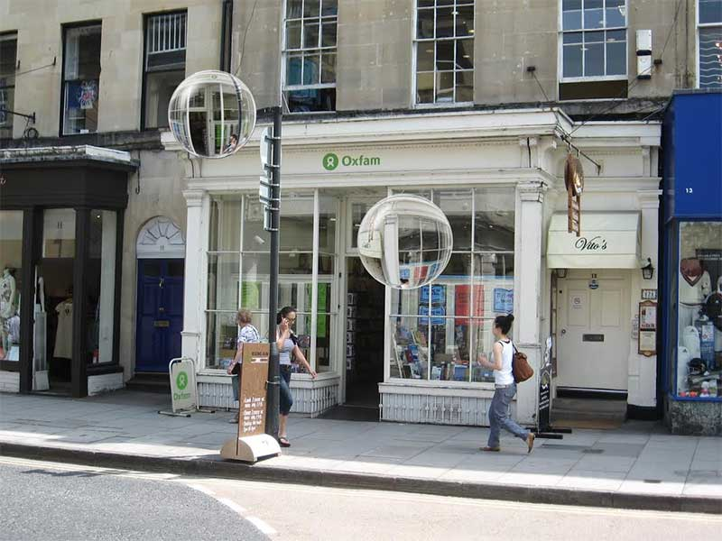 Oxfam shop with mocked up indication of 'traces' - mobile augmented information