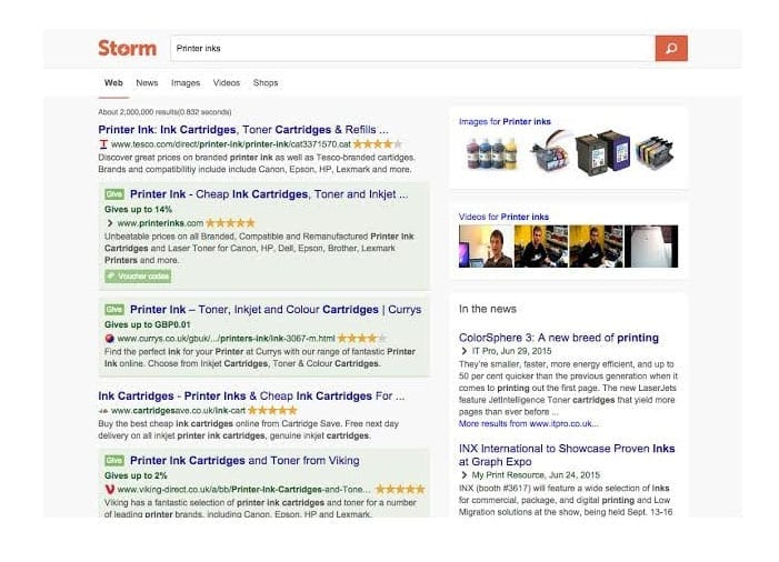 Storm search engine results