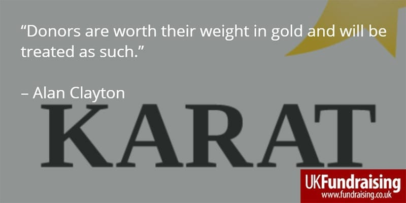 Alan Clayton explains choice of Karat for telephone fundraising agency name