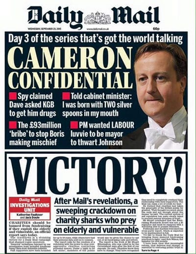 Daily Mail front page - Victory! - 23 September 2015
