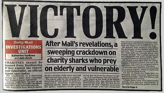 Daily Mail front page declares victory in campaign against 'charity sharks'