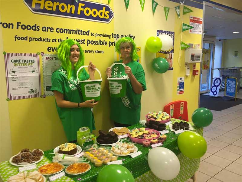 Store staff Heron Foods in Whickham, Newcastle, Tyneside taking part in Macmillan's World's Biggest Coffee Morning
