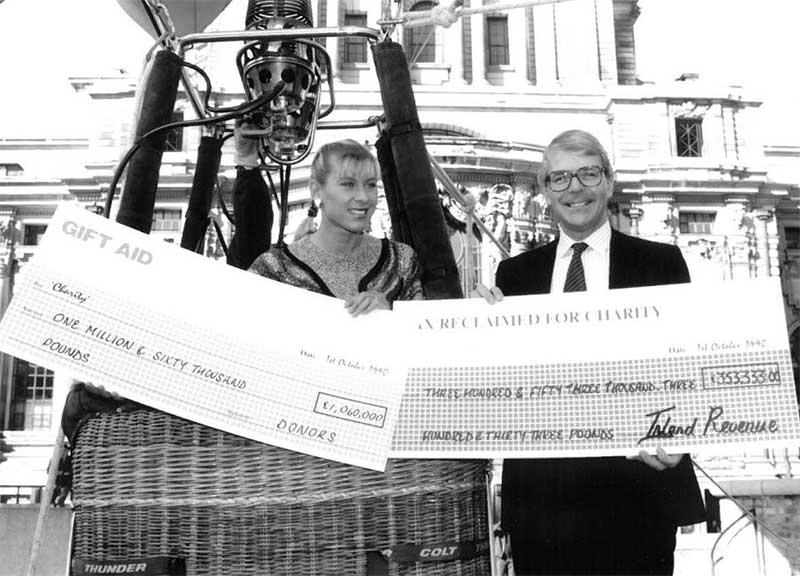 John Major MP and swimmer Sharron Davies launch Gift Aid in London