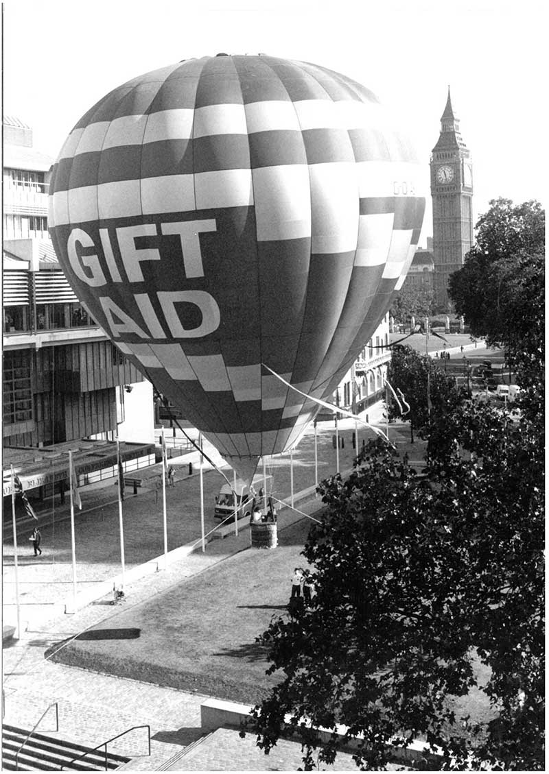 Hot air balloon launches Gift Aid on 1 October 1990