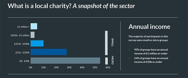Size of local charities & community groups in Localgiving's 2015 report