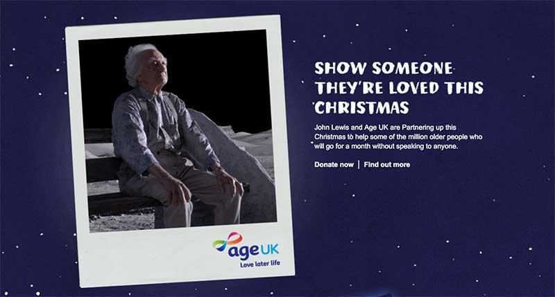 John Lewis promotes its partnership with Age UK at Christmas