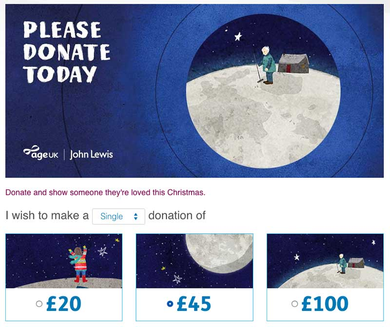 Man on the Moon donation page on Age UK's website