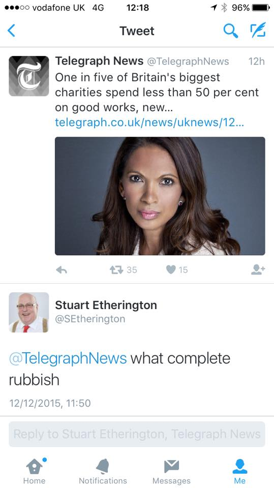 Stuart Etherington's response on Twitter