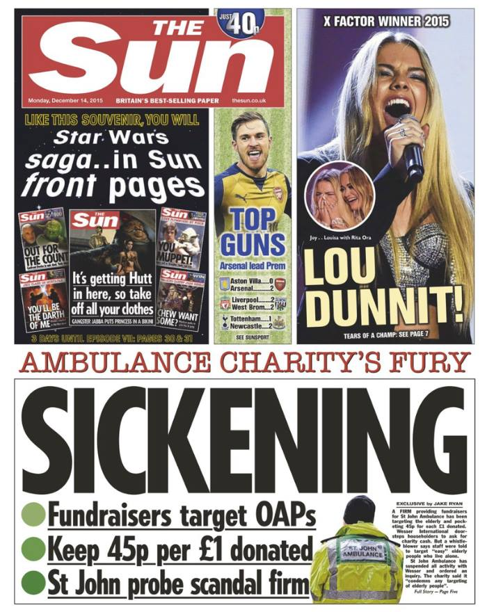 The Sun - Wesser International and St John Ambulance, front page 20151214