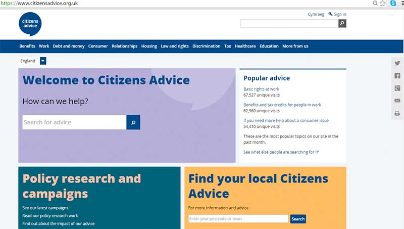 Citizens Advice website - good for user experience