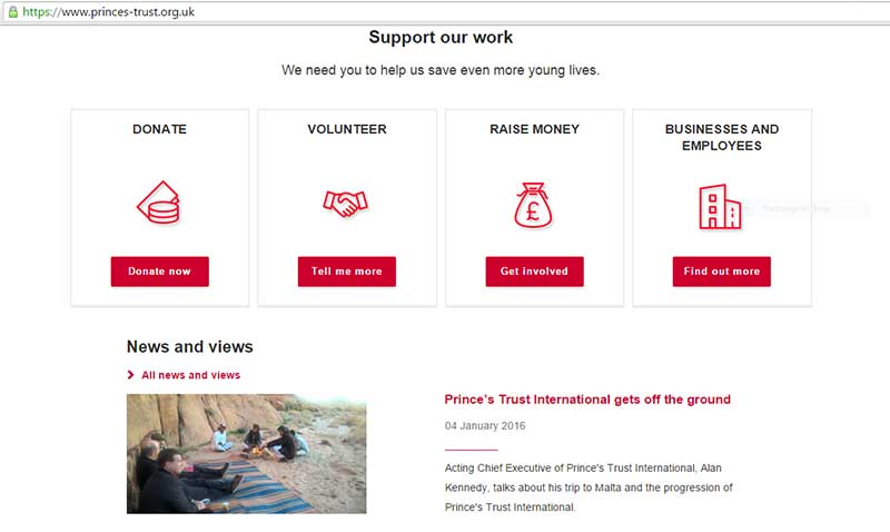 Prince's Trust website - highlighted for good UX